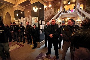 Authorities Attempt To Eject Protestors From Wisconsin Capitol Building