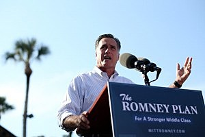 Mitt Romney Continues His Multi State Bus Tour In Florida