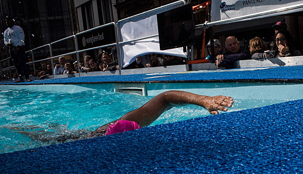 Distance Swimmer Diana Nyad Attempts To Swim In Pool For 48 Hours In Manhattan's Herald Square