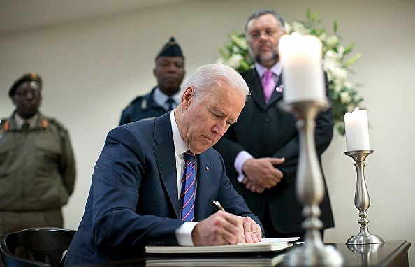 Vice President Biden And Jill Biden Sign Condolence Book At S. African Embassy