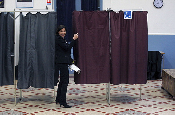 Paris Socialist Mayoral Candidate Anne Hidalgo Votes In Paris