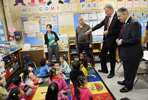 NYC Mayor Bill de Blasio Visits School
